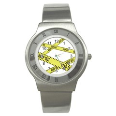 Keep Out Police Line Yellow Cross Entry Stainless Steel Watch by Alisyart
