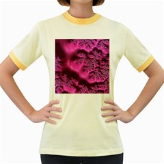 Fractal Artwork Pink Purple Elegant Women s Fitted Ringer T Shirts by Amaryn4rt