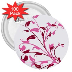 Leaf Pink Floral 3  Buttons (100 Pack)  by Alisyart