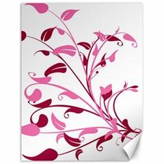 Leaf Pink Floral Canvas 12  X 16   by Alisyart
