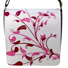 Leaf Pink Floral Flap Messenger Bag (s) by Alisyart