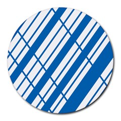 Line Blue Chevron Round Mousepads by Alisyart