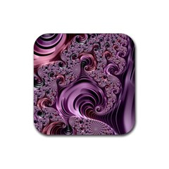 Purple Abstract Art Fractal Art Fractal Rubber Square Coaster (4 Pack)  by Amaryn4rt