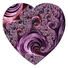 Purple Abstract Art Fractal Art Fractal Jigsaw Puzzle (heart) by Amaryn4rt