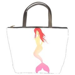 Mermaid Illustrator Beach Fish Sea Pink Red Bucket Bags by Alisyart