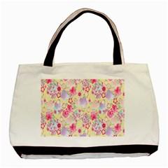 Flower Arrangements Season Floral Pink Purple Star Rose Basic Tote Bag (two Sides) by Alisyart