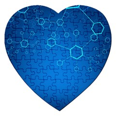 Molecules Classic Medicine Medical Terms Comprehensive Study Medical Blue Jigsaw Puzzle (heart) by Alisyart