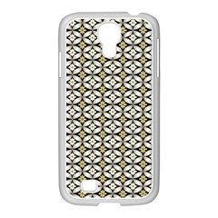 Flower Floral Chevrpn Wave Sunflower Rose Grey Yellow Samsung Galaxy S4 I9500/ I9505 Case (white) by Alisyart