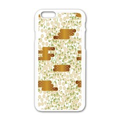 Flower Floral Leaf Rose Pink White Green Gold Apple Iphone 6/6s White Enamel Case by Alisyart