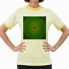 Green Fractal Simple Wire String Women s Fitted Ringer T Shirts by Amaryn4rt