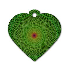 Green Fractal Simple Wire String Dog Tag Heart (one Side) by Amaryn4rt