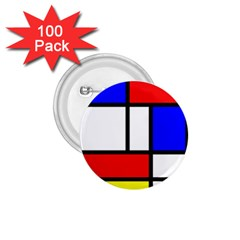 Mondrian Red Blue Yellow 1 75  Buttons (100 Pack)  by Amaryn4rt