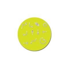 Arrow Line Sign Circle Flat Curve Golf Ball Marker by Amaryn4rt