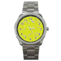 Arrow Line Sign Circle Flat Curve Sport Metal Watch by Amaryn4rt