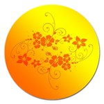 Flowers Floral Design Flora Yellow Magnet 5  (Round) Front