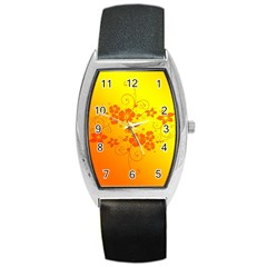 Flowers Floral Design Flora Yellow Barrel Style Metal Watch by Amaryn4rt
