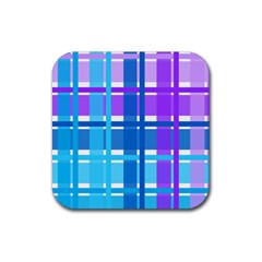 Gingham Pattern Blue Purple Shades Rubber Square Coaster (4 Pack)  by Amaryn4rt
