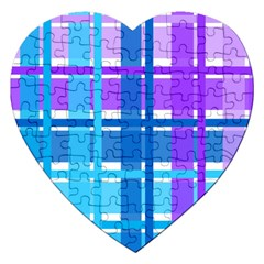 Gingham Pattern Blue Purple Shades Jigsaw Puzzle (heart) by Amaryn4rt