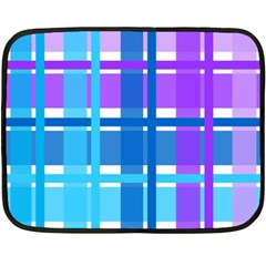Gingham Pattern Blue Purple Shades Fleece Blanket (mini) by Amaryn4rt