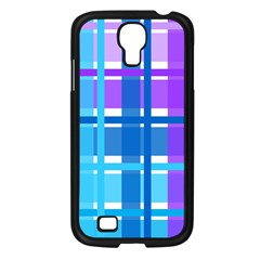Gingham Pattern Blue Purple Shades Samsung Galaxy S4 I9500/ I9505 Case (black) by Amaryn4rt