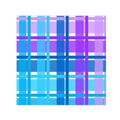 Gingham Pattern Blue Purple Shades Small Satin Scarf (square)