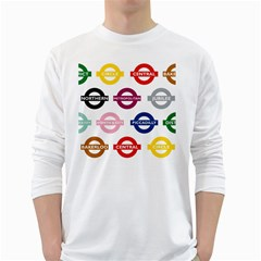 Underground Signs Tube Signs White Long Sleeve T Shirts by Amaryn4rt