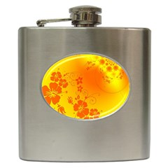 Flowers Floral Design Flora Yellow Hip Flask (6 Oz) by Amaryn4rt