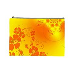Flowers Floral Design Flora Yellow Cosmetic Bag (large)  by Amaryn4rt