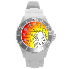 Spirituality Man Origin Lines Round Plastic Sport Watch (l) by Amaryn4rt