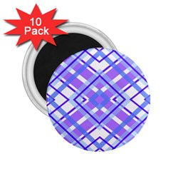 Geometric Plaid Pale Purple Blue 2 25  Magnets (10 Pack)  by Amaryn4rt