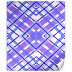 Geometric Plaid Pale Purple Blue Canvas 8  X 10  by Amaryn4rt