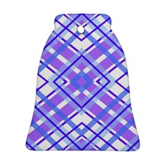 Geometric Plaid Pale Purple Blue Ornament (bell)
