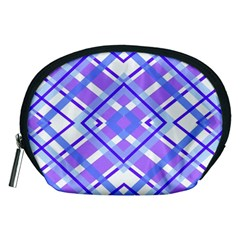 Geometric Plaid Pale Purple Blue Accessory Pouches (medium)  by Amaryn4rt