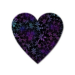 Retro Flower Pattern Design Batik Heart Magnet