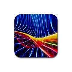 Color Colorful Wave Abstract Rubber Square Coaster (4 Pack)  by Amaryn4rt