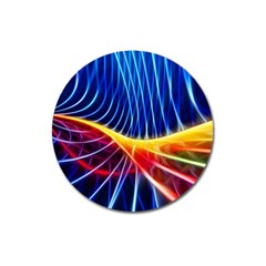 Color Colorful Wave Abstract Magnet 3  (round) by Amaryn4rt