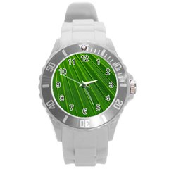 Green Lines Macro Pattern Round Plastic Sport Watch (l) by Amaryn4rt
