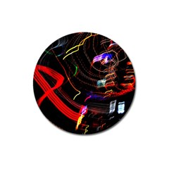 Night View Night Chaos Line City Magnet 3  (round) by Amaryn4rt
