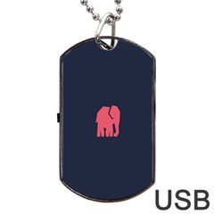 Animals Elephant Pink Blue Dog Tag Usb Flash (two Sides) by Alisyart