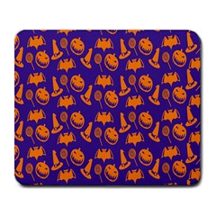 Witch Hat Pumpkin Candy Helloween Purple Orange Large Mousepads by Alisyart