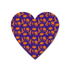 Witch Hat Pumpkin Candy Helloween Purple Orange Heart Magnet by Alisyart