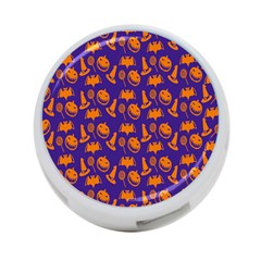 Witch Hat Pumpkin Candy Helloween Purple Orange 4 Port Usb Hub (one Side) by Alisyart