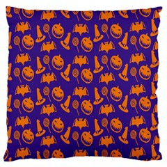 Witch Hat Pumpkin Candy Helloween Purple Orange Large Cushion Case (two Sides) by Alisyart