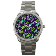 Arrows Purple Green Blue Sport Metal Watch by Alisyart