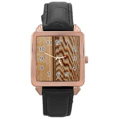 Wood Grain Texture Brown Rose Gold Leather Watch  by Amaryn4rt