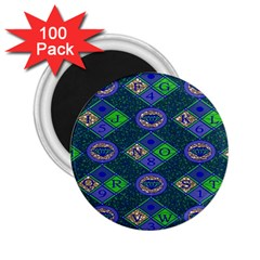 African Fabric Number Alphabeth Diamond 2 25  Magnets (100 Pack)  by Alisyart