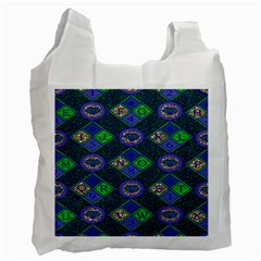African Fabric Number Alphabeth Diamond Recycle Bag (one Side) by Alisyart
