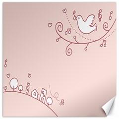 Bird City Sing Pink Notes Music Canvas 16  X 16   by Alisyart