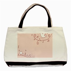 Bird City Sing Pink Notes Music Basic Tote Bag (two Sides) by Alisyart