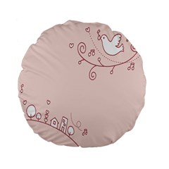 Bird City Sing Pink Notes Music Standard 15  Premium Flano Round Cushions by Alisyart
